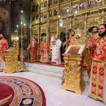 His Grace Bishop Timotei of Prahova celebrates Divine Liturgy on the Feast of the Ascension of the Lord
