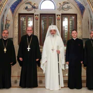 Patriarch of Romania welcomes SVOTS President, Archpriest Chad Hatfield, at the Patriarchal Residence