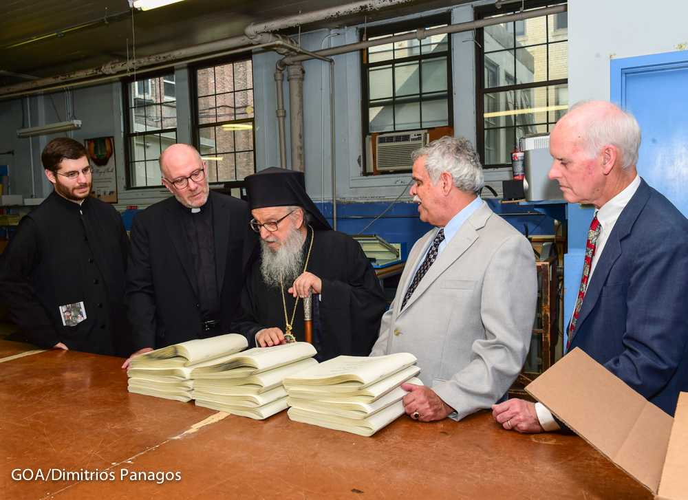 Archbishop Demetrios Visits National Braille Press